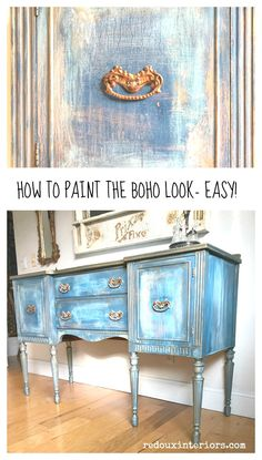 How to Makeover Vintage Buffet to Boho Buffet - painting furniture Paint Furniture, Furniture Makeover, Cool Furniture, Furniture Buyers, Chair Makeover, Furniture Websites, Furniture Refinishing, Street Furniture, Furniture Plans