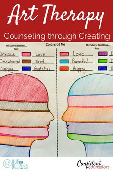 Art therapy is an excellent tool for school counselors to .Art therapy is an excellent tool for school counselors to integrate into group counseling and individual counseling. It enables students to express thoughts and feelings Counseling Worksheets, Therapy Worksheets, Counseling Activities, Group Counseling, Counseling Teens, Counseling Posters, Leadership Activities, Elementary Counseling, Group Therapy Activities