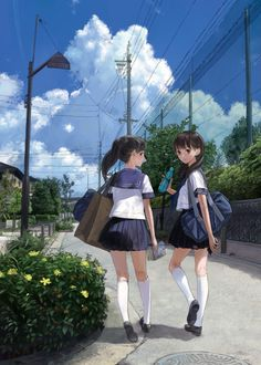 ✮ ANIME ART ✮ school uniform. . .seifuku. . .sailor uniform. . .pleated skirts. . .knee socks. . .school bags. . .friends. . .walking home from school. . .sidewalk. . .sky. . .cute. . .kawaii