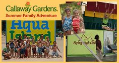 Callaway Gardens Summer Family Adventure for kids ages 3-17. Beach olympics, lakeside luau, TreeTop Adventure! For the parents, wine and cooking classes!