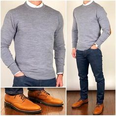 Chris Mehan ( chrismehan ) - Sweater Weather 🌬🌨❄️ Keep it bundled up in warm layers❗️🔥🔥🔥 Do you like this outfit❓ Sweater and oxford shirt: Boots: Grizzly Wheat President Outfits Hombre Casual, Business Casual Men, Men Casual, Smart Casual, Casual Wear, Pullover Outfit, Herren Outfit, Mens Clothing Styles, Trendy Clothing