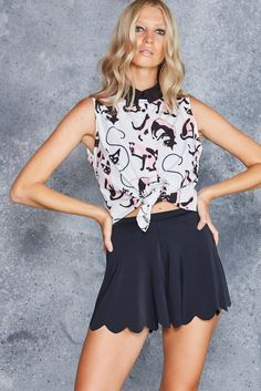 Feline Fine Business Time Shirt - LIMITED ($80AUD) by BlackMilk Clothing