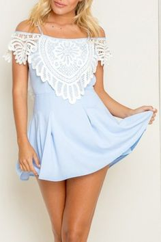 Image of FASHION BLUE LACE STRAPS DRESS