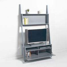 """Une étagère échelle meuble TV Domeno. Gain de place et esthétisme pour ce meuble malin qui accueille également votre télévision.Description de la bibliothèque meuble TV Domeno :1 grande niche support TV compatible pour un écran de 42 """" (dim. utiles L105 x H73 x P37 cm)Caisson du haut : 1 grande niche (dim. utiles L102 x H34,5 x P16,5 cm)Caisson du bas : 2 niches pour les lecteurs et 1 porte abattante ouvrant sur 2 niches.Caractéristiques de la bibliothèque meuble TV Domeno :MDF peint fin..."""