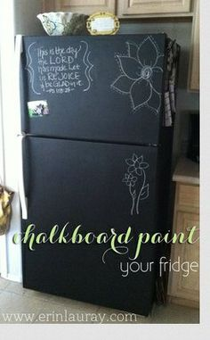Nice idea, but what is with this chalkboard-paint-in-the-kitchen obsession people have? Does nobody think about all the chalk dust going everywhere - floor, counters, food...? I just have flashbacks to clapping the dust out of the erasers in elementary school, and to the dust all over the carpet beneath the board. Yuck! Looks cool, but for real life, I would take a pass.