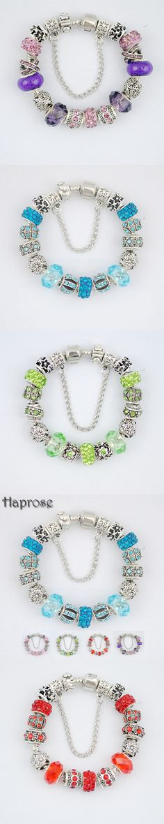 hot selling 5 colors High Quality Crystal flower Charm bracelet for women Enamel Flower Beads DIY Bracelet Pulseira Gfit