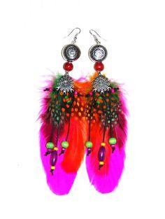 """Boucles d'oreilles ethniques plumes """"Little Navajo"""" fuschia"""