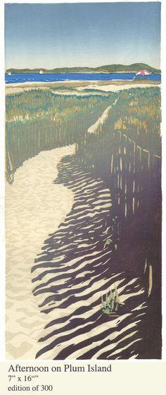 "Matt Brown ""Afternoon on Plum Island"" woodblock print"