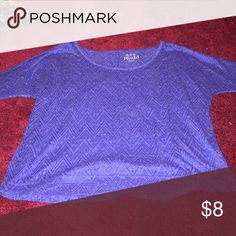Dark blue Lang sleeve shirt Patterned shirt a little see thru but you could always wear a tank underneath Tops Tees - Long Sleeve