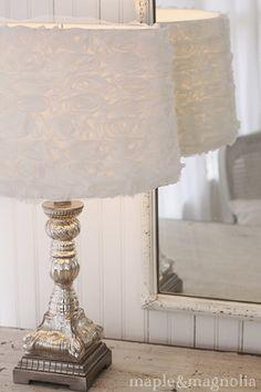 love this white shade on mercury glass lamp