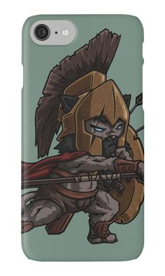Warrior Cat Phone Case by namibear. This is a cartoon drawing of a cat-like creature wearing a medieval armor and fighting. There are arrows on his shields and he is waving a spear towards the enemy. He is fierce!