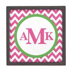 Pink and Green Monogram Chevron Jewelry Box