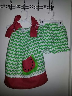 Pillowcase Dress with watermelon applique & bloomers www.facebook.com/Tyleigh'sClotheslineByMia