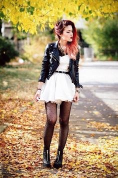 Fashion Grunge Chic Leather Jackets For 2019 Punk Outfits, Hipster Outfits, Grunge Outfits, Fashion Outfits, Fall Outfits, Hipster Goth, Fashion Tights, Casual Outfits, Summer Outfits