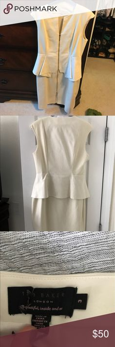 Ted baker ivory Jumana textured peplum dress Flattering fit, bought from eBay for bridal shower for $100. British sizing 3, US sizing 8-10 Ted Baker Dresses Midi