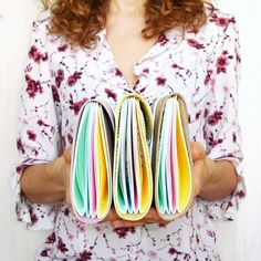"""Lovely handcrafted RAINBOW leather journals in MIDI size 4×6""""...pastel pages inside: yellow, pink, blue and green..."""