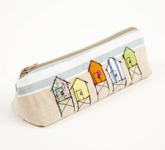 embroidered beach hut pencilcase by lizzie searle | notonthehighstreet.com
