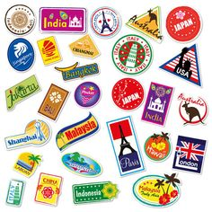 28 Countries Travel Suitcase Luggage Stickers