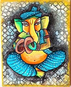 Abstract Lord Ganesha on x Stretched canvas, Indian art, Wall decor, Spiritual Wall decor, Texture Art Ganesha Drawing, Lord Ganesha Paintings, Ganesha Art, Acrylic Painting Inspiration, Acrylic Painting Canvas, Drawing For Kids, Art For Kids, Ganapati Decoration, Ganesha Pictures