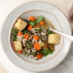 Smoky Field Pea and Greens Soup with Black Pepper Cornbread Croutons