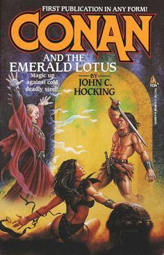 Philip Jose Farmer Book Covers | Forgotten Books: CONAN AND THE EMERALD LOTUS by John C. Hocking (1995)