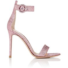 Gianvito Rossi Women's Portofino Ankle-Strap Sandals ($815) ❤ liked on Polyvore featuring shoes, sandals, light pink, high heel shoes, high heeled footwear, ankle strap shoes, ankle strap stilettos and open toe shoes