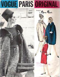 Vintage 1960s Vogue Paris Original NINA RICCI 1217 Dress and Cape Sewing Pattern Bust 32 Size 12