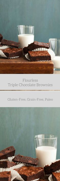 Flourless Triple Chocolate Brownies - These fudgy flourless ,gluten-free chocolate brownies are bursting at the seams with three kinds of chocolate. @gourmandeinthek