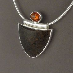 Fossilized Dinosaur Bone and Amber Bezel Set by BerniesBaubles