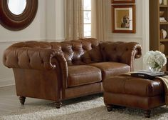 Orleans tufted leather sofa by Natuzzi