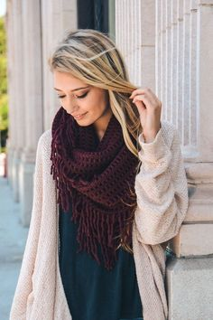 "- Fringe infinity scarf in burgundy. - Measures 28"" x 14"". - 100% Acrylic - Many colors available."