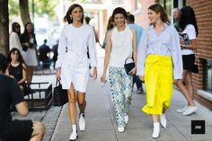 Streetstyle of Brie Sara Welch ,Patty Lu, Megan Gray Bowman during New York…