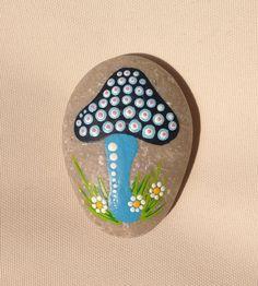 Dot Art Mushroom - Painted stone painted rock office ornament garden marker decoration stone art dotilism blue