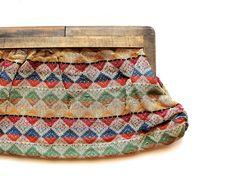 antique woven clutch