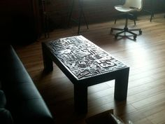 Stunning coffee table built of removable letterpress blocks. What a beautiful way to store and display a collection.