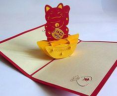 3D 立体 ポップアップ グリーティングカード (5種) 結婚祝い 誕生日 バレンタイ ホワイトデー クリスマス ギフト におすすめ 飛び出す招待状にメッセージ (招き猫(ラッキーキャット))
