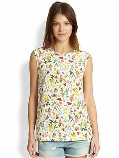 Equipment - Kyle Silk Floral-Print Top - Saks.com