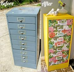Upcycle old filing cabinets. I need to do this to my old one in the basement.