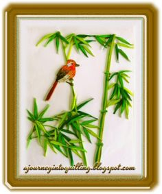 A Journey into Quilling & Paper Crafting: Quilled Picture of Nature Landscape Scene - Bird Among the Bamboo
