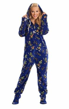 9175f19e354 Jumpin Jammerz Marvin The Martian Footed Pajamas Adult Onesie Pajamas