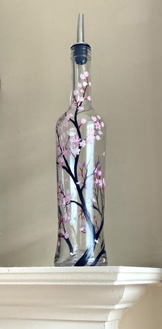 Cherry Blossom Dispenser Hand Painted Oil and Vinegar Bottle Kitchen Container Stylish Storage Floral Pink Flowers Tree Branches Japanese Painted Glass Bottles, Glass Bottle Crafts, Lighted Wine Bottles, Bottle Art, Bottle Painting, Dot Painting, Kitchen Containers, Cherry Blossom, Pink Flowers
