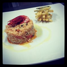 A simple red Sicilian red prawns risotto with chunky Zucchine