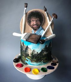 I hand painted this Bob Ross cake with buttercream : Baking - Brats - I hand painted this Bob Ross cake with buttercream : Baking - Bob Ross Birthday, Birthday Cake, Bob Ross Quotes, Happy Little Trees, Bob Ross Paintings, Cake Games, Painted Cakes, Pumpkin Spice Cupcakes, Art Party