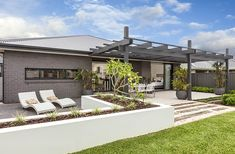 OUTDOOR LIVING / ALFRESCO -  Prelude Elite with Modern Facade on display at Twin Waters Custom Home Designs, Custom Homes, New Home Builders, Outdoor Living, Outdoor Decor, Investment Property, Home Buying, Facade, Pergola