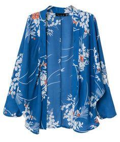 Kimono gasa floral vintage-azul 13.29