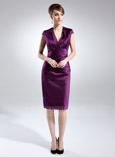 Mother of the Bride Dresses - $114.99 - Sheath/Column V-neck Knee-Length Satin Mother of the Bride Dress With Ruffle (008015775) http://jjshouse.com/Sheath-Column-V-Neck-Knee-Length-Satin-Mother-Of-The-Bride-Dress-With-Ruffle-008015775-g15775