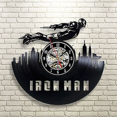 Iron Man Marvel Vinyl Record Clock Wall Modern Vintage Art Decoration Handmade