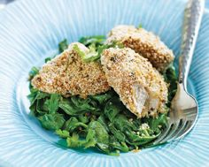 Spicy Panko-Crusted Chicken from LCBO magazine spring 2011.  Can be gluten free with the right breadcrumbs