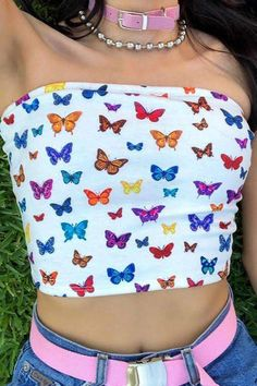 d256bf8e153181 People also love these ideas. butterfly printed slim tube top – Lupsona  Tube Top Outfits