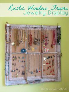 Rustic Window Frame turned Jewelry Display Storage using burlap instead of wire mesh!